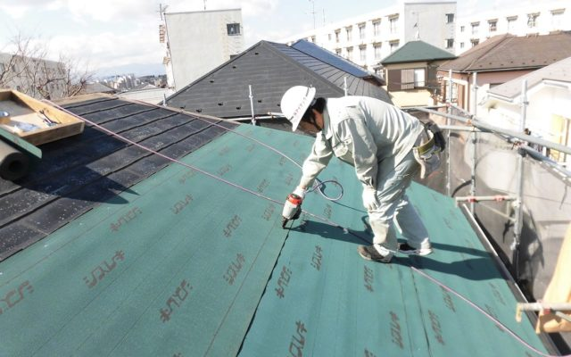 屋根棟他撤去・防水シート貼り